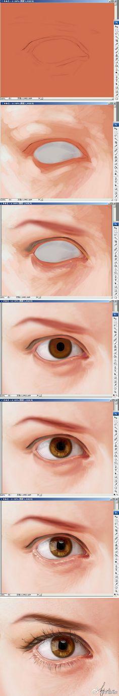 New eye tutorial photoshop digital paintings Ideas Digital Painting Tutorials, Digital Art Tutorial, Art Tutorials, Digital Paintings, Draw Tips, Painting Process, Art Studies, Drawing Techniques, Drawing People