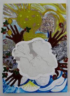 """<<FRUKTIG>> """"Vår"""", Techniques mixtes sur toile, 50x70 cm, Karianne B. 2014  TELLusVISION #14 : FRUKTIG on Behance by Karianne B. -studio-TELLusVISION-"""