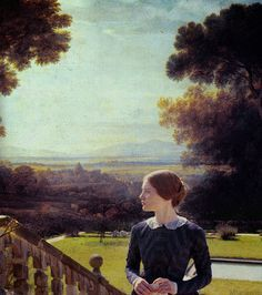 In the same vein as the previous pin - Mia Wasikowska as Jane on a background of a landscape painting.