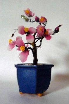 """Vintage Japanese Bonsai Tree W/Pink Petals & Yellow Buds In Blue Pot 4"""" X 8"""" Check more at https://thewildpetunia.com/store/asian-collectibles/vintage-japanese-bonsai-tree-wpink-petals-yellow-buds-in-blue-pot-4-x-8/"""