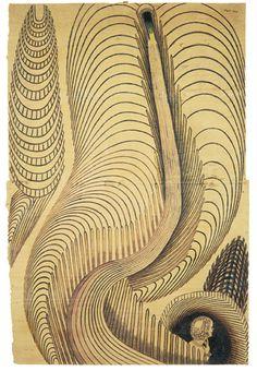 "Martin Ramirez. Untitled (Breck Girl). Circa 1953. Graphite and crayon on paper. 46 1/2"" x 30 1/2"" (118.1 x 77.5 cm). American Folk Art Museum, NY, 2007, p. 133 (color)."