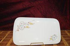 "Wawel China Blue & Yellow Flower Rectangle Serving Platter, Poland 13 1/4""x8""  #WAWEL"