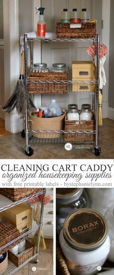 Cleaning Cart Caddy DIY Organized Housekeeping Supplies #michaelsmakers