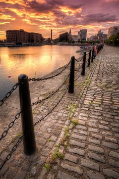 Sunset over Albert Docks, Liverpool.