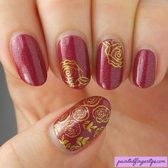 Painted Fingertips | Northern Star Style & Substance with rose stamping