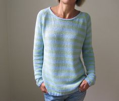 After the Rain by Heidi Kirrmaier | Ravelry | The sky is the limit with this basic, easily customizable piece! A crew-neck, raglan, long-sleeved sweater is knit seamlessly from the top-down in a DK-weight yarn.
