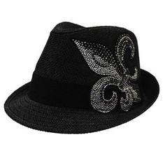 c8a763b1212ea Amazon.com  Katwalk Divaz Rhinestone Fleur De Lis Fedora Hat  Clothing Big  Jewelry