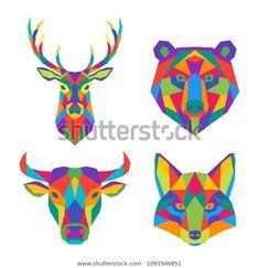 Set of abstract polygonal animals. Geometric colorful head of deer, bear, bull and fox. Gauche Painting, Geometric Deer, Polygon Art, Graffiti Characters, Fox Art, Barn Quilts, Illustration Sketches, Bunt, Canvas Wall Art