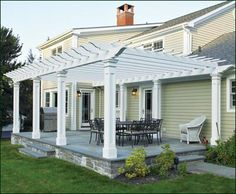 Freeport Attached Pergola with Pillar Posts from Walpole Woodworkers-definately need this for my patio!