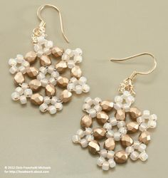 Use this beaded snowflake technique to make gorgeous earrings or mini ornaments.