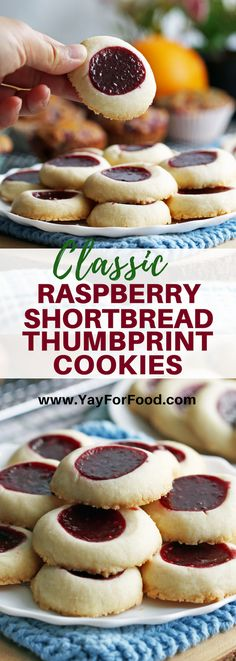 jam thumbprint cookies Classic buttery shortbread is filled with sweet and tart raspberry jam in this quick and easy thumbprint cookie recipe. Made with simple ingredients, these Easy Christmas Cookie Recipes, Best Cookie Recipes, Christmas Desserts, Christmas Cookies, Yummy Recipes, Super Cookies, Yummy Cookies, Thumbprint Cookies Recipe, Raspberry Thumbprint Cookies