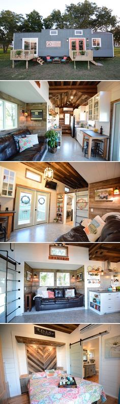 From Hill Country Tiny Houses is the 40-foot Vintage Retreat. The 384 sq.ft. tiny home has two steel slide-outs and a main floor master bedroom.