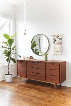 Great Spaces: Trinity Bellwoods, midcentury modern sideboard and round mirror Room Decor Bedroom, Diy Room Decor, Mid Century Modern Bedroom, Mid Century Modern Dresser, My New Room, Cheap Home Decor, Hygge, Home Interior Design, Interior Ideas