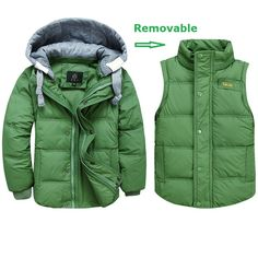 24.17$  Watch now - Boys Winter Jackets Removable Kids Down Parkas Vest 3-11Y Children's Hooded Coats Kids Thick Thermal Outwear Outdoor SC596  #buychinaproducts