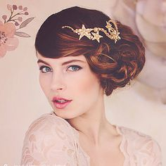 gorgeous side updo bridal hair with shimmery gold star hairpiece ~  we ❤ this! moncheribridals.com