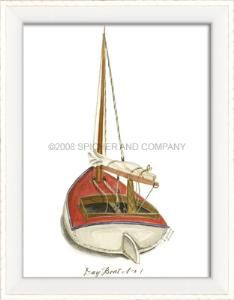 "Bring an empty wall area to life with a grouping of prints from our colorful sailboat collection. This piece measures 13 1/2"" x 10 3/4"".  Product in photo is from www.wellappointedhouse.com"
