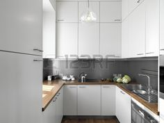 White Kitchen With Wooden Worktops white gloss kitchen with wood wrap around. | kitchen design