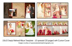 SIMPLY REFINED - 10x10 Digital Wedding Album Template - 10 spread (20 page) design with custom cover