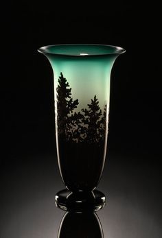 Pine Vase Hand Blown Art Glass in Jade Green from the Tree and Root Series by…