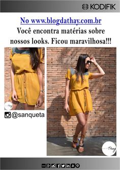 Thayline Sanqueta usa Kodifik, linda! Roupa mostarda vestido dress