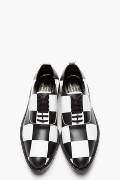 COMME DES GARÇONS HOMME PLUS Black & White Checkerboard Leather Oxfords