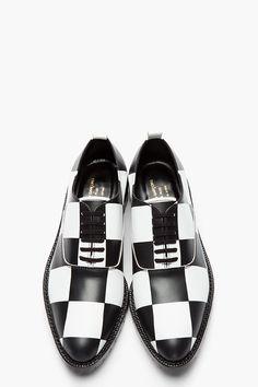 ae8b8d664a4 COMME DES GARÇONS HOMME PLUS Black & White Checkerboard Leather Oxfords Shoes  Sneakers, Shoes