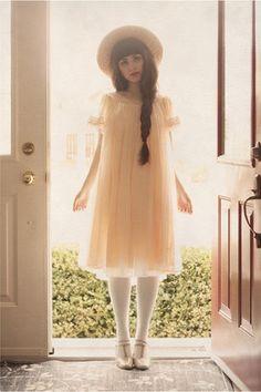peach 60s vintage dress - beige vintage hat - off white stockings via chictopia.com