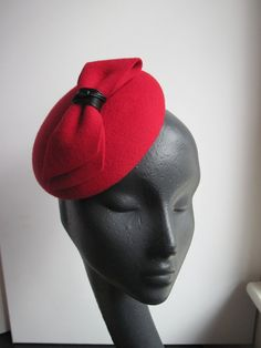 Womens Red Wool Cocktail Hat with Bow by MindYourBonce on Etsy, £60.00
