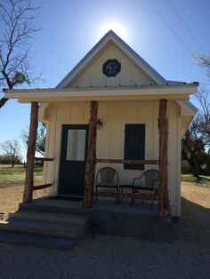 Ranch Guest House. Her husband and she recently completed this small house on our ranch for guests. It is 12' by 24' with a 8' by 12' loft and a 5' covered front porch. A small home with a 288 square feet footprint in West Texas. Built and shared by Debra Hargrove. Several interior pics at link.
