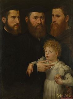 Three Men and a Girl, c.1540, Netherlandish school, in National Gallery London