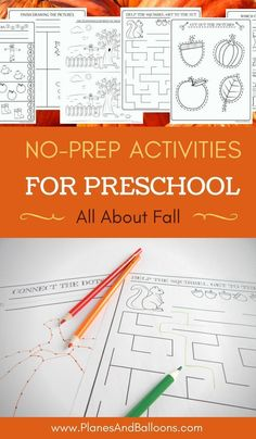 Supplement your Fall pre-k theme with these fun math, fine motor activities and fall coloring pages for kids. Perfect for thinking skills, pre-writing skills, cutting skills, fine motor skills and more! Fall Preschool Activities, Motor Skills Activities, Preschool Curriculum, Free Preschool, Preschool Worksheets, Preschool Learning, In Kindergarten, Fun Learning, Learning Activities