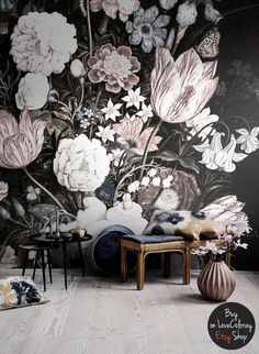 Vintage Floral Art Removable Wallpaper  Vintage by loveCOLORAY
