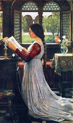"""The Missal"".  (1902). (by John William Waterhouse)."