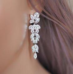 Bridal Earrings, Long Marquise Earrings, Wedding Cluster Earrings, Silver Dangling Bridal Jewelry, Swarovski Crystal Earrings for Bride!