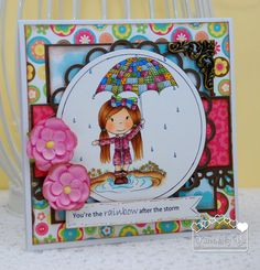 Fun Playing in the Rain with Tieran   made by Paper Nest Dolls Rubber Stamps & sold individually. Items can be purchased in my ebay Store Pat's Rubber Stamps & Scrapbooks or call me 423-357-4334 with order, or come by 1327 Glenmar Ave. Mt Carmel, TN 37645, Pat's Rubber Stamps & Scrapbook supplies 423-357-4334. We take PayPal. You get free shipping with the phone orders of $30.00 or more