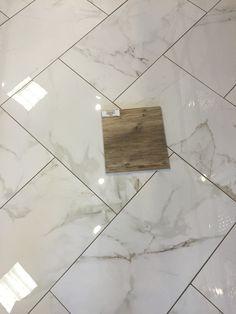 Larix Natural wood tile on Calcutta Matte Porcelain (12x24)