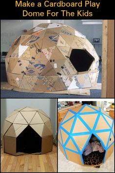 Keep The Kids Entertained by Building This Awesome Geodesic Playhouse From Cardb. - Keep The Kids Entertained by Building This Awesome Geodesic Playhouse From Cardboard! Cardboard Houses For Kids, Cardboard Box Fort, Cardboard Crafts Kids, Cardboard Box Ideas For Kids, Preschool Crafts, Fun Crafts, Cool Diy Projects, Craft Projects, Diy For Kids