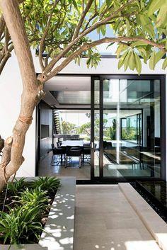 porte d'extérieur coulissante, arbres, jardin, cour, maison, extérieur, idée, créative