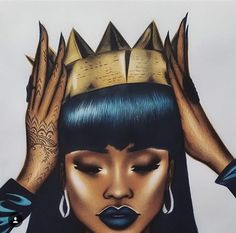 rihanna, Queen, and art image Black Girl Art, Black Women Art, Black Girls Rock, Black Girl Magic, Art Girl, Art Women, African American Art, African Art, African Drawings