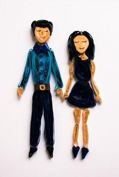 Couples Portrait  Custom Portrait  Unique by ofthingspretty