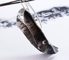BEAN PODS  silver earrings  long floral style  by OYRZANOWSKA