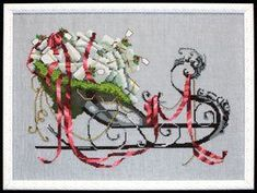 $10.79 Santa's Sleigh - Christmas Eve Couriers by Nora Corbett Item: NC122 Type: Cross Stitch Patterns Model stitched on 32 Ct. Twilight Blue linen with DMC floss, Kreink #4 Braid (011HL, 028, 032, 421), and Mill Hill Beads (00167, 02011, 02022, 18081). Stitch Count: 196w X 133h.