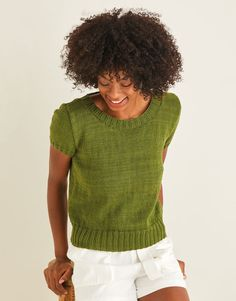 Sirdar 10115 Cotton Summer Top knitted in DK/#3 weight yarn. For adults I Cord, Tie Backs, Summer Wardrobe, Warm Weather, Knit Crochet, Scoop Neck, Feminine, Crocheting Patterns, Stylish