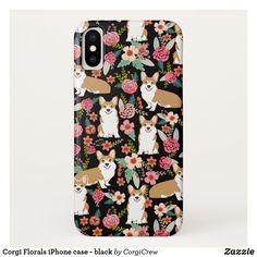 Corgi Florals iPhone case - black Corgi Phone Case, Dog Phone, Samsung Cases, Iphone Cases, Corgi Gifts, Cute Corgi, Girly Gifts, Plastic Case