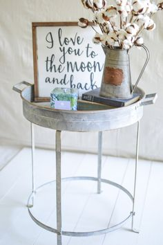 ROUND METAL TRAY TABLE   LARGE