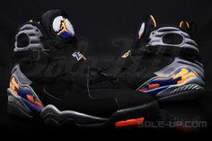 NIKE AIR JORDAN VIII RETRO BLACK/BLUE-ORANGE #sneaker