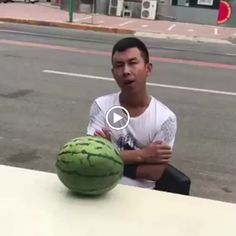 [GIF] Do you want me to show you how I break the watermelon with my head? Animated Gifs, Funny Gags, It's Funny, Funny Humor, Funny Stuff, Hilarious, Fail Video, Funny As Hell, When You Realize
