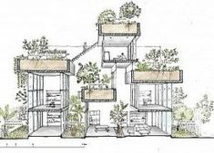 Sustainable architecture, green building and green architecture projects. Plan Concept Architecture, Magazine Architecture, Green Architecture, Architecture Drawings, Sustainable Architecture, Architecture Design, Architecture Student, Residential Architecture, Sections Architecture