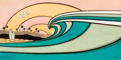 Good Morning - Wave breaking, surfboards and birds flying by - artwork by Joe Vickers