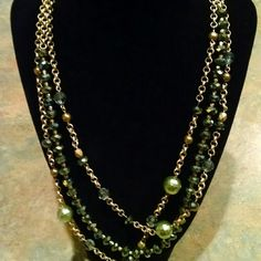 "Price Reduced!!!! ✨ Necklace ✨ Lia Sophia goldstone necklace with green and gold beads.  3 strands, all detachable, wear all three or mix and match one or two. Total length with all three attached is 22"". Lia Sophia Jewelry Necklaces"